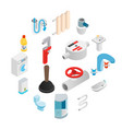 sanitary engineering isometric 3d icons vector image vector image