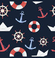 sea and nautical seamless pattern on the dark blue vector image