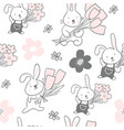 seamless pattern with cute bunnies with flowers vector image