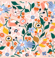 seamless pattern with flowers creative spring vector image
