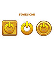 set gold power icons different shapes vector image vector image