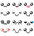 set with kawaii mimicry faces different muzzles vector image