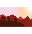 Silhouette of home on the mountain vector image vector image