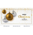silver golden christmas balls on light background vector image