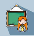 teacher woman with board to teach the students vector image vector image