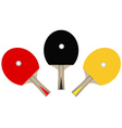 three table tennis rackets vector image vector image