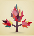 tree with leaves on sand colors background vector image vector image