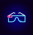 virtual reality glasses neon sign vector image vector image