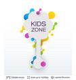 white badge kids zone sticker vector image