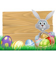 wooden sign easter white rabbit vector image vector image