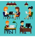 People sitting on chair at table in front of vector image