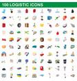 100 logistic set cartoon style vector image