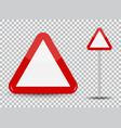 warning road sign on transparent background red vector image