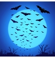 Black bats silhouettes on big blue moon at dark vector image