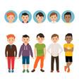 teenage boy with avatar icons set vector image