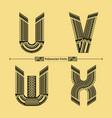 alphabet polynesian style in a set uvwx vector image vector image