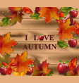 autumn card leaves on wood background realistic vector image vector image