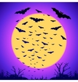 Black bats silhouettes on big yellow moon at vector image vector image