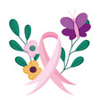 breast cancer awareness month flowers leaf ribbon vector image vector image