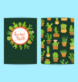 Card template with lettering we are cacti vector image