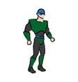 cartoon superhero wearing suit standing heroic vector image vector image