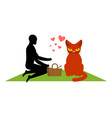 cat lover on picnic my kitty blanket and basket vector image vector image