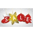 Christmas sale tags on a snowy background vector image vector image