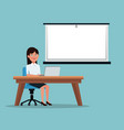color background executive woman sitting in desk vector image