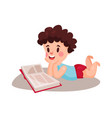 cute curly little boy lying on his stomach and vector image vector image