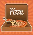 delicious italian pizza in carton box vector image