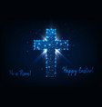 easter greeting card with shining low poly cross vector image