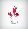 family 3 care logo template people vector image vector image