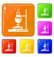 flask lab burner icons set color vector image vector image