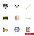 flat icon lifestyle set of watch partnership vector image vector image
