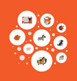 flat icons pony mutton chipmunk and other vector image vector image