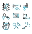 Flat line icons for rappeling equipment vector image vector image