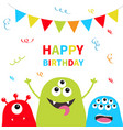 happy birthday three monster silhouette set head vector image