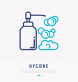 liquid soap with foam thin line icon vector image