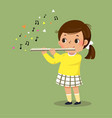 little girl playing flute vector image