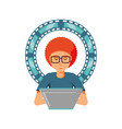 man with laptop and video tape vector image vector image