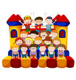 many kids sitting on bounching house vector image
