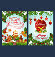 merry christmas and new year winter holiday poster vector image vector image