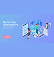 mobile app development isometric interface vector image vector image