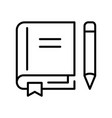 monochrome simple textbook with pen and bookmark vector image vector image