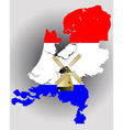 netherlands map with windmill vector image vector image