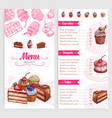 pastry menu with dessert cakes and pies vector image vector image