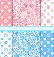 Pink and blue set of polka dot fabric seamless vector image vector image