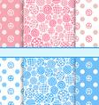 pink and blue set polka dot fabric seamless vector image
