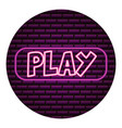 play button neon video game vector image vector image