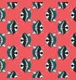 raccoon head seamless pattern on red background vector image vector image